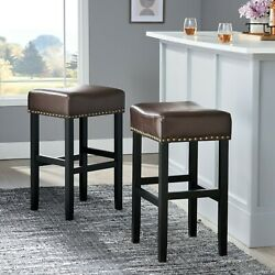 Chantal 30-Inch Brown Leather Bar Stool (Set of 2) $107.51