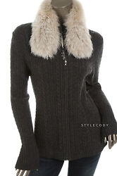 NEW $895 St. John Womens Dark Gray Cashmere Detachable Fox Fur Cardigan Top M