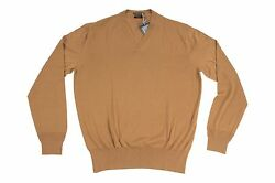 Tom Ford 70% Cashmere30% Silk 38US48EU Men's V-Neck JumperSweater Khaki Brown