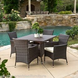 (5-Piece)Outdoor Patio Furniture Multibrown Wicker Square Dining Set w Cushions