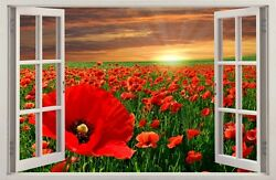 3D Effect Window WALL STICKERS Flowers POPPIES Sticker Decal Decor Mural 29 $22.99