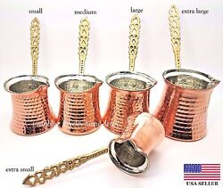 Turkish Traditional Hand Hammered Stove Top Copper Coffee PotGreek Ibrik Cezve