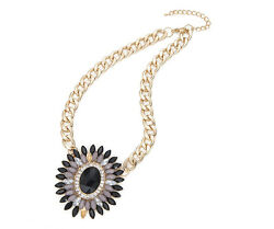Ladies Girls Gold Tone Black Grey Large Pendant Diamante Chain Gift Necklace