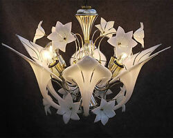 Vintage Original Calla Lily Chandelier - 1960s 70s Retro Light