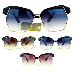SA106 Runway Womens Diva Oversize Half Rim Butterfly Octagon Eye Brow Sunglasses