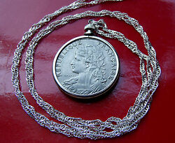 Antique French Parisian Maiden Coin Pendant on a 30