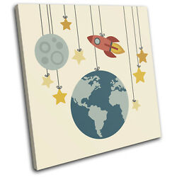 Space Cartoon Modern For Kids Room SINGLE CANVAS WALL ART Picture Print $69.99