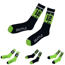 Seattle Seahawks 12TH Fan Seattle 12 City View 12 Socks $3.49
