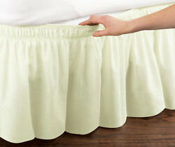 Ivory Elastic Ruffled Bed Skirt: Wrap Around Easy Fit Twin or Full Size