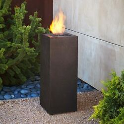 Outdoor Gas Fire Pit Patio Fireplace Backyard LP Heater Square Column Firepit