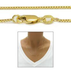 Guaranteed 10K Yellow Gold Box Chain Necklace 1mm w Lobster Lock $125.98