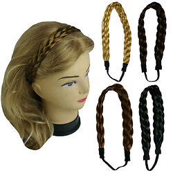 Synthetic Hair Band Plaited Headband Braided with Elastic 1quot; Wide US Ship $5.39