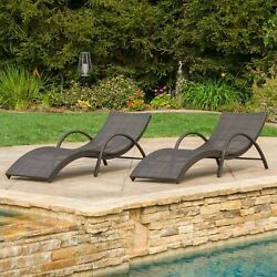 (Set of 2) Outdoor Brown Wicker Folding Armed Chaise Lounge