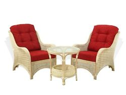 Living Set Jam 2 Lounge White Wash Chairs Coffee Table wGlass Red Cushions