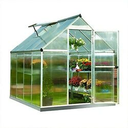 Mini Greenhouse Walk-in Rust Resistant Frame Twin Wall Roof Polycarbonate Panels