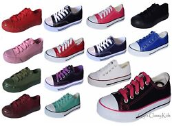 New Boys Girls Youth Classic Low Top Canvas Tennis Shoes Lace Up Sneakers Kids $15.97