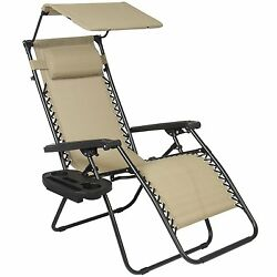Folding Canopy Shade Chair Lounge Cup Holder Patio Garden Tan