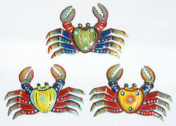 Set 3 Crabs Colored Metal Hanging Recycled Metal Wall Decorations Haiti Art 8quot; $51.95