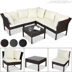 Polyrattan Sofa Bench Glass Table Wicker Garden Patio Sofa Outdoor Furniture
