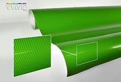 Green carbon fiber gloss tech art 50ft x 5ft 3 layer vinyl laminated car wrap