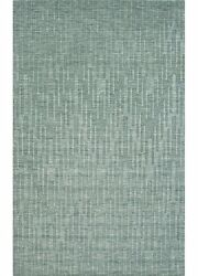 8x11 Rectangle Area Rug Solids 100% Wool Solids Handloom Mineral Blue