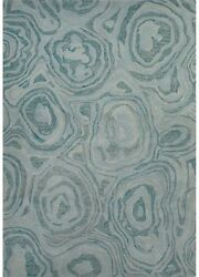 5x8 Rectangle Area Rug Contemporary 100% Wool Hand-Tufted Blue Haze