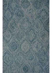 8x10 Rectangle Area Rug Contemporary 100% Wool Hand-Tufted Mineral Blue
