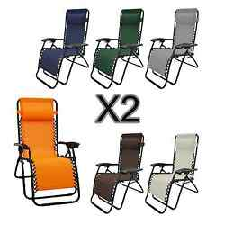 2PC Lounge Patio Chairs Outdoor Yard Zero Gravity Folding Portable Chaise Chair