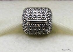 NWT AUTHENTIC PANDORA SILVER CHARM  PAVE BARREL CLIP (1 EACH)  #791873CZ