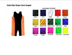 MENS EXTENDED SIZES TANK WRESTLING SINGLET WITH SIDE STRIPE YOU CHOOSE COLORS $42.00