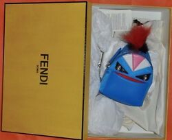 AUTHENTIC RUNWAY NEW FENDI MONSTER BACKPACK BAG BUGS CHARMBlue color