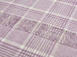 Bronte by Moon - Merino Lambswool -Throw Blanket - POW Check Lilac - Made in UK