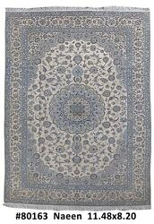 Nain Real Rug 8x12 Persian Original Wool & Silk Made by hand