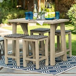 Outdoor Dining Table Set Patio Wood 5 Pcs Furniture Bar Height Stool Wicker Pool