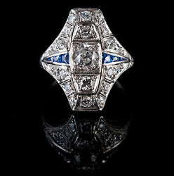 Vintage 1920's Platinum Round Cut Diamond & Sapphire Cocktail Ring 1.36ctw