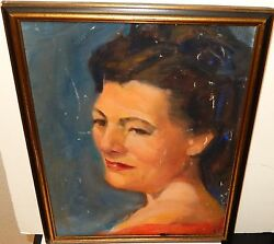 RUTH ROTHSTEIN WOMAN IN RED OLD OIL ON CANVAS PAINTING $99.99