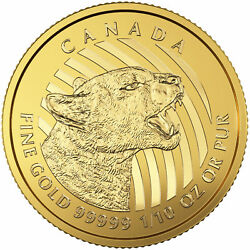 2016 Canadian 110oz Gold Growling Cougar .99999 in Assay