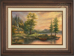 Thomas Kinkade Morning Light Lake EE 18 x 27 LE Canvas Framed
