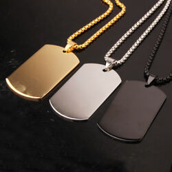 Fashion Stainless Steel Silver Gold Black Jewelry Mens Dog Tag Pendant Necklace $5.99