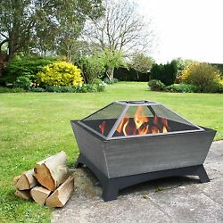 Outdoor Fire Pit Wood Burning Cover 26 Inch Portable Patio Backyard Silver Poker