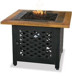 Fire Bowl Slate Wood Tile LP Gas Faux Modern Mantel Portable Outdoor Patio Deck