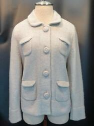 J. CREW COLLECTION 100% CASHMERE Lt. Gray Butterfield Sweater Coat Jacket L $398