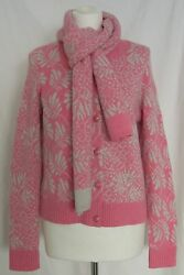 Barrie Pink Cashmere Cardigan Sweater with Matching Scarf SZ Medium NWT US$2000