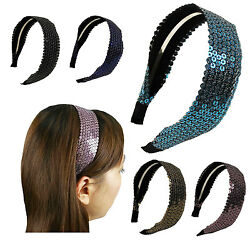 Shiny Spangle 1.5quot; Wide Headband women Girl FahionSolid Hair accessories $5.99