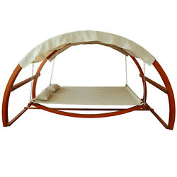 Patio Swing Bed Outdoor Canopy Porch Hammock Garden Furniture Wooden Stand