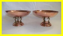 PAIR OF ART DECO C.1920 COPPER WILLOW PATTERN CENTRE BOWLS STUNNING ENGRAVING.