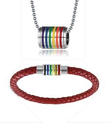 Gay Pride-LGBT Real Leather Rainbow Bracelet & Rainbow Badgeal Necklace