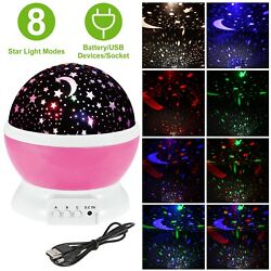 Constellation Night Light Baby Kids Lamp Moon Star Sky Projector Rotating Cosmos $13.33
