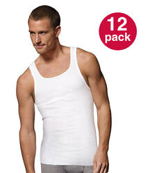 WHOLESALE Men#x27;s Tank Top PACK OF 12: Athletic A shirt Wife Beater 100% Cotton $12.95