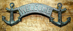 Cast Iron ANCHOR WELCOME Plaque Sign Nautical Wall Pool Home Decor BOAT HOUSE $6.99